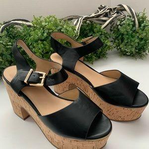 Aldo black cork heeled platform sandals